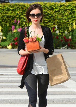 Lily Collins at Bristol Farms in Los Angeles