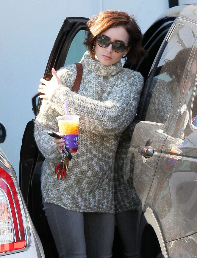 Lily Collins at her Office in West Hollywood