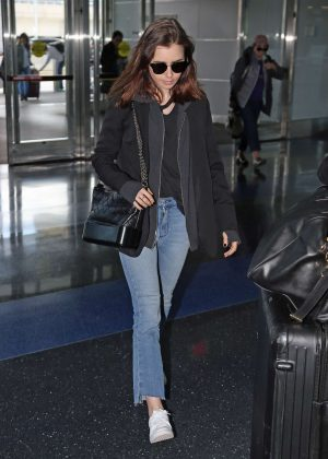 Lily Collins at JFK airport in New York