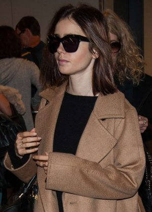 Lily Collins at LAX Airport -02