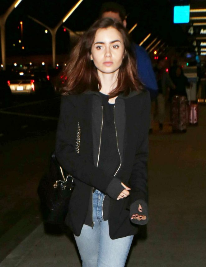 Lily Collins at LAX Airport in Los Angeles