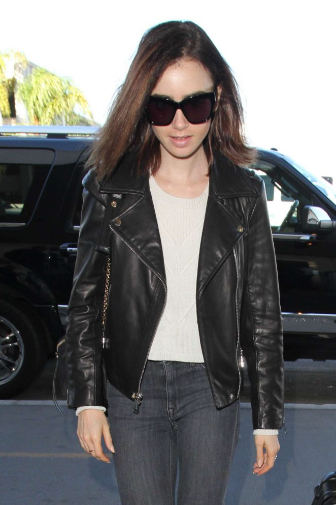 Lily Collins at Los Angeles International Airport
