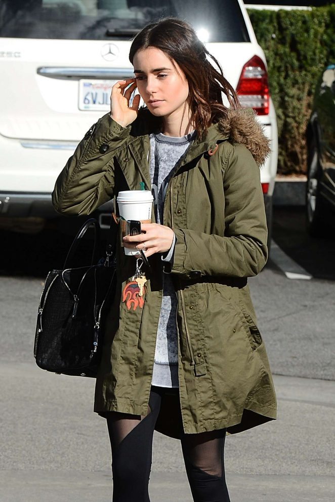 Lily Collins at Starbucks in Los Angeles