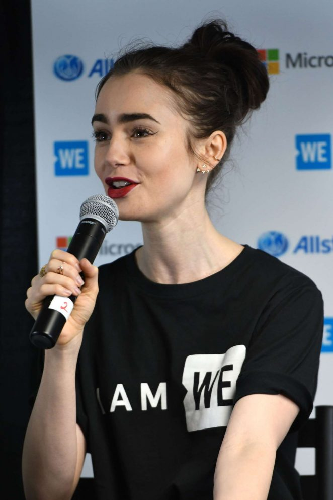 Lily Collins at We Day founder Craig Kielburger in Seattle