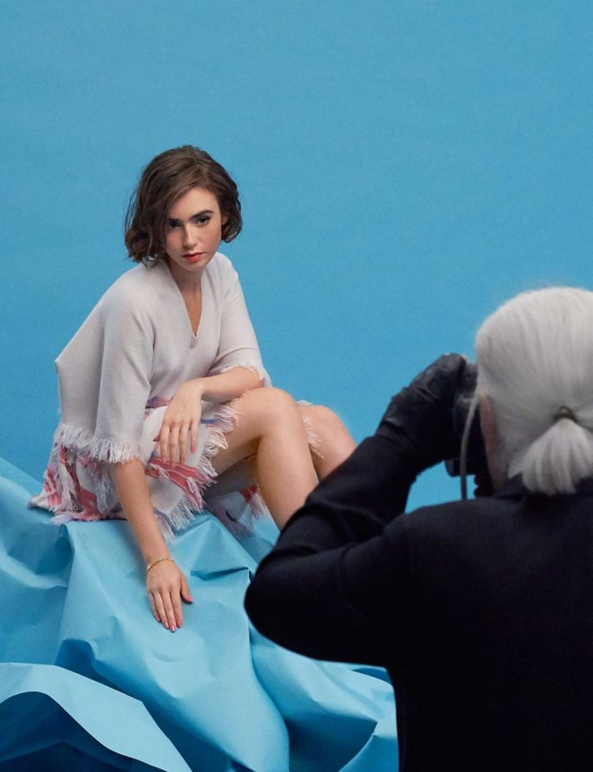 Lily Collins - Barrie Knitwear SS Photoshoot 2015 (Behind The Scenes)