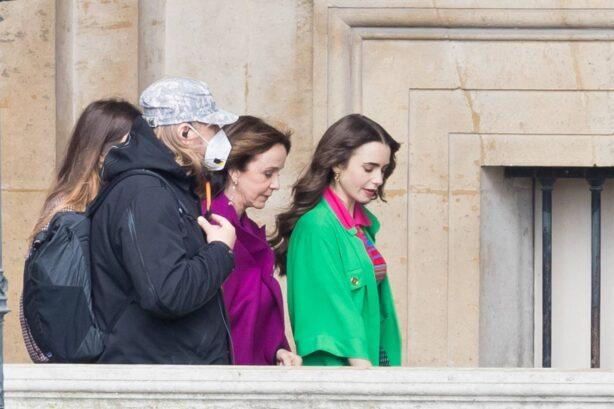Lily Collins - 'Emily in Paris' season 2 set at Le Louvre in Paris