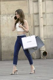 Lily Collins - filming Emily in Paris in Pantheon area