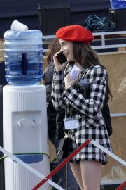 Lily Collins - Filming 'Emily in Paris'