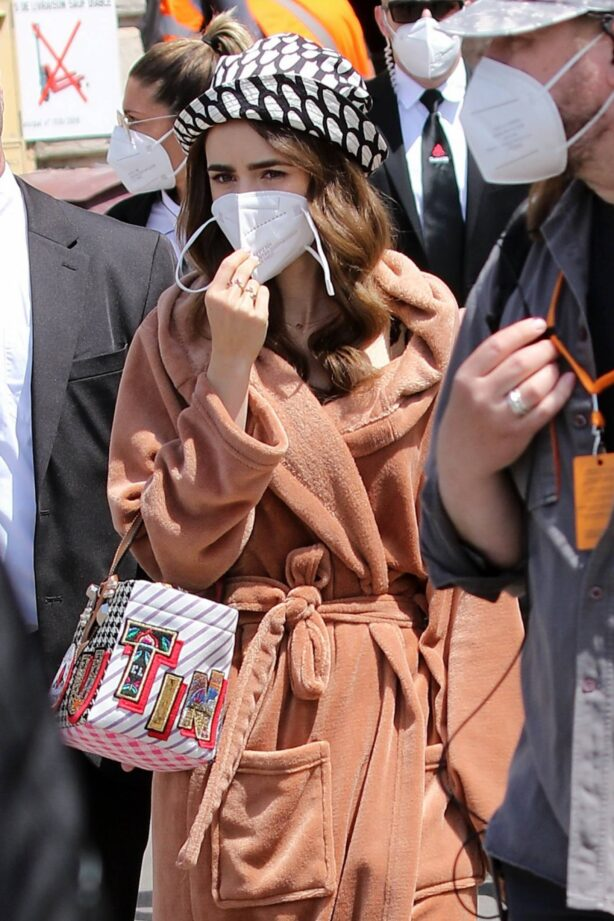 Lily Collins - Filming of Emily In Paris on the French Riviera in Saint-Tropez