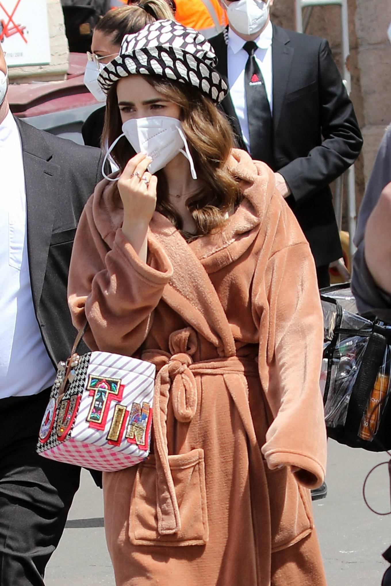 Lily Collins 2021 : Lily Collins – Filming of Emily In Paris on the French Riviera in Saint-Tropez-09