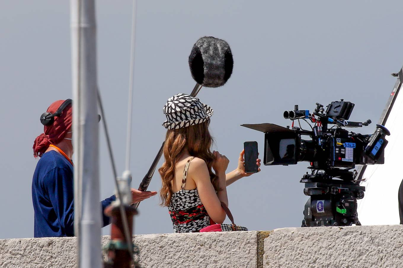 Lily Collins 2021 : Lily Collins – Filming of Emily In Paris on the French Riviera in Saint-Tropez-15