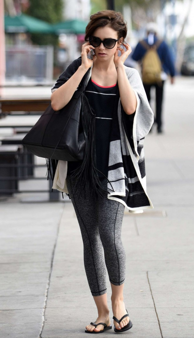 Lily Collins Going to Gym in West Hollywood