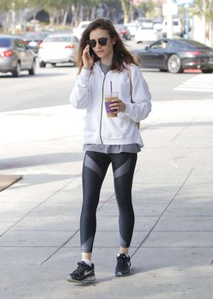Lily Collins - Grabs some ice tea in Beverly Hills