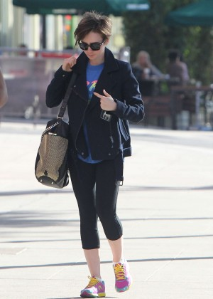 Lily Collins in Leggings -05