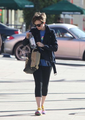 Lily Collins in Leggings -07