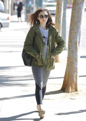Lily Collins - Heads to the gym for a workout in LA