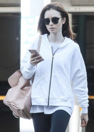 Lily Collins - Hits the gym in West Hollywood