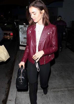 Lily Collins in a Red Leather Jacket out in Beverly Hills