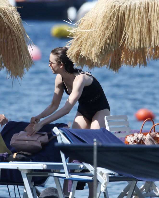 Lily Collins in Black Swimsuit 2017 -11