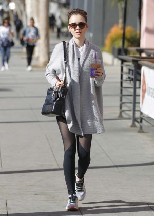 Lily Collins in Black Tights out and about in LA