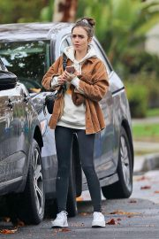 Lily Collins in Brown Jacket and Tights - Out in Los Angeles