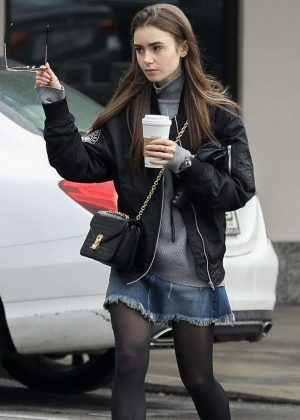 Lily Collins in Denim Skirt - Out in Los Angeles