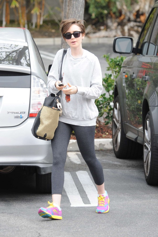 Lily Collins in Grey Leggings Out in LA
