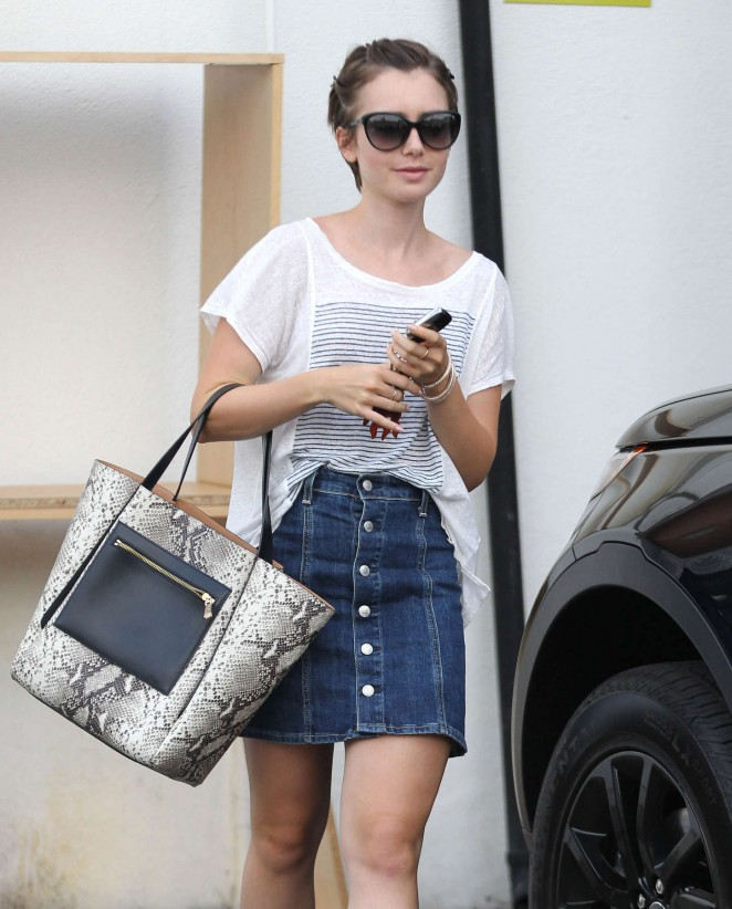 Lily Collins in Jeans Mini Skirt out in LA