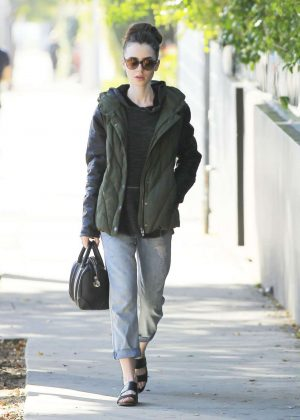 Lily Collins in Jeans Out in Beverly Hills