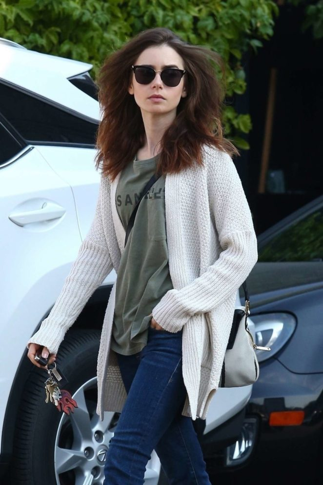 Lily Collins in Jeans out in Hollywood