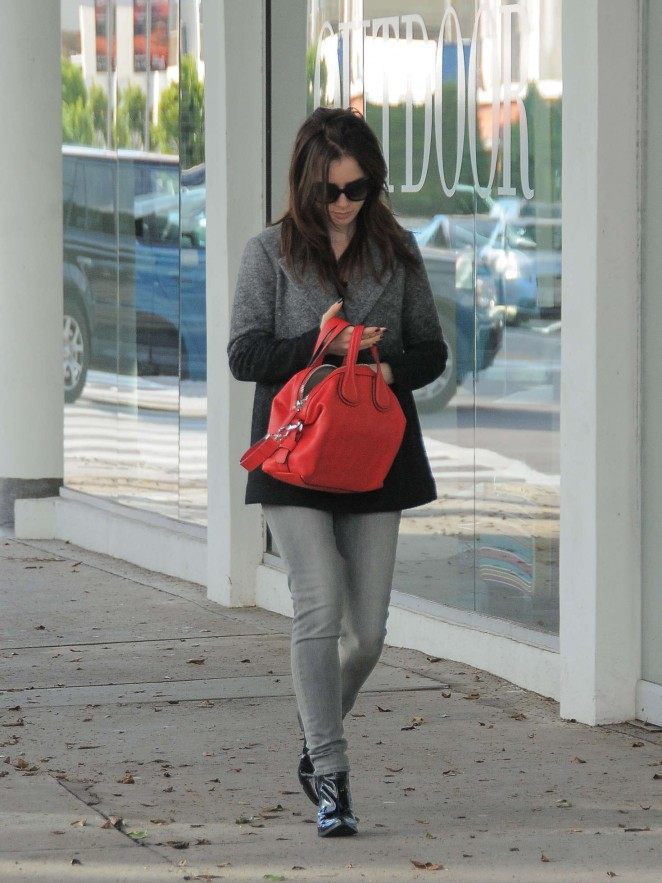 Lily Collins in Jeans out in Los Angeles