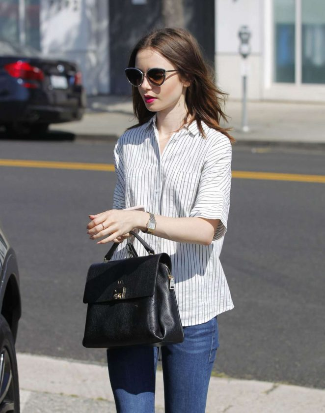 Lily Collins in Jeans Shopping in Beverly Hills