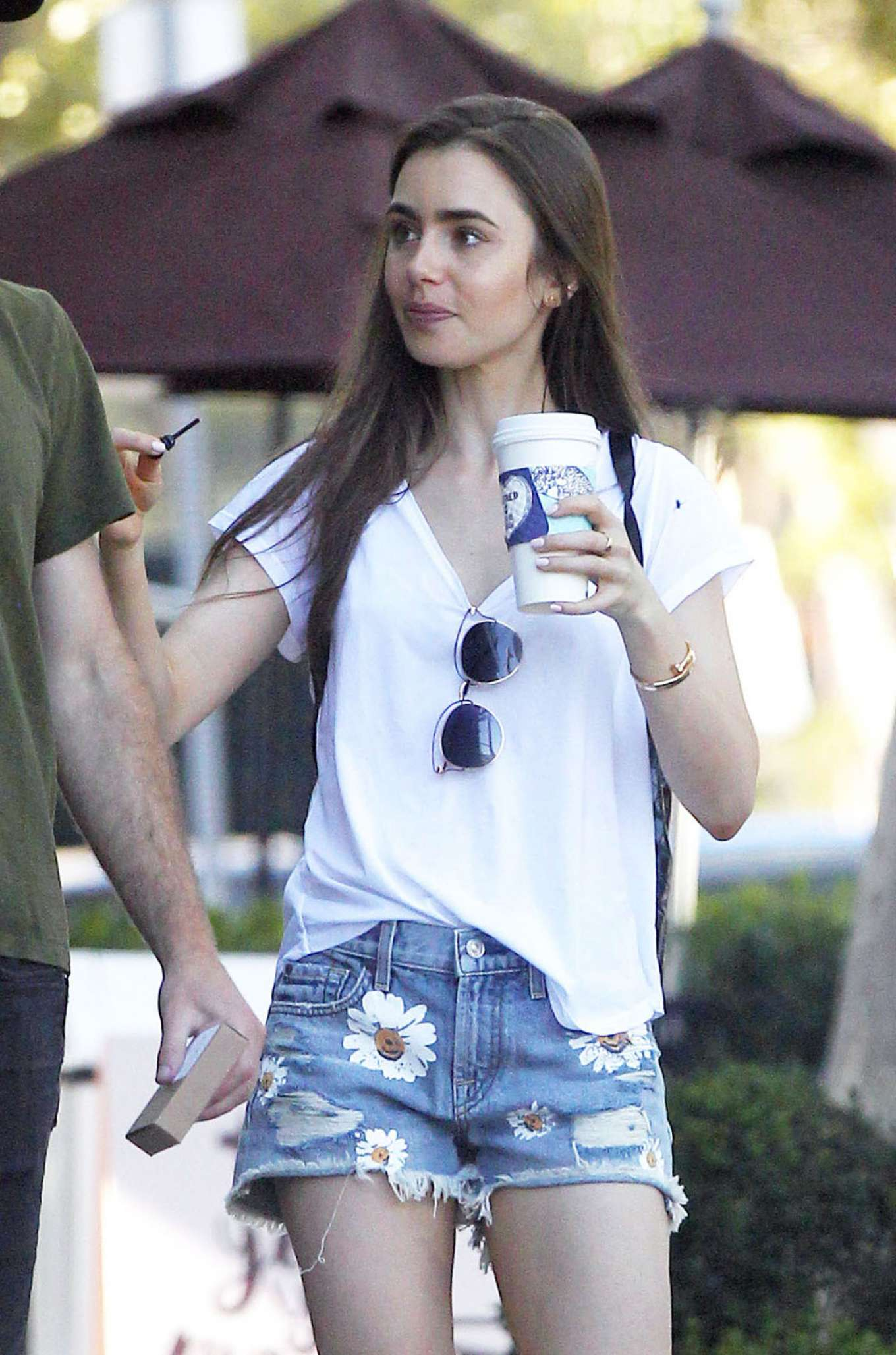 Lily Collins in Jeans Shorts and Charlie Mcdowell - Out in Los Feliz