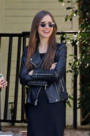 Lily Collins in Leather Jacket - Out in West Hollywood