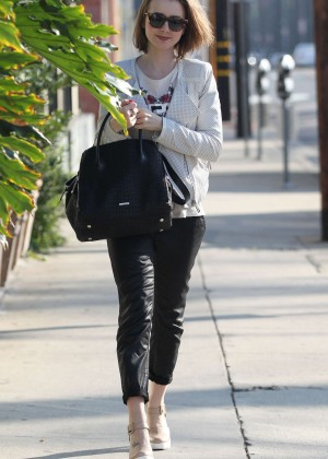 Lily Collins in Leather out in West Hollywood