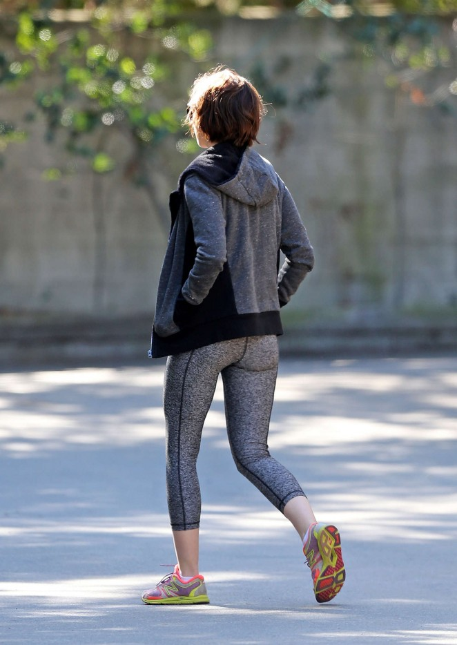 Lily Collins in Leggings out in Los Angeles