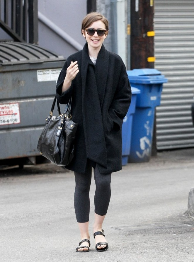 Lily Collins in Leggings out in West Hollywood