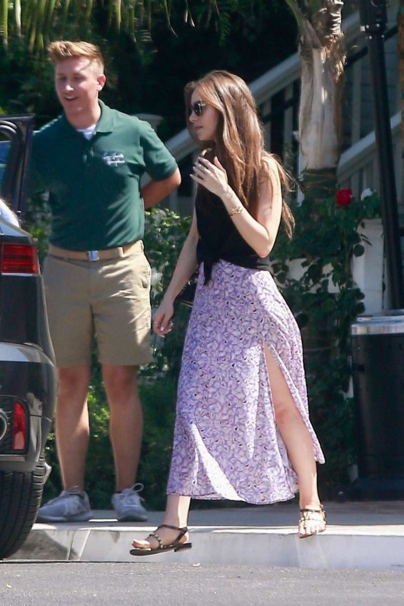 Lily Collins in Long Skirt - Out in West Hollywood