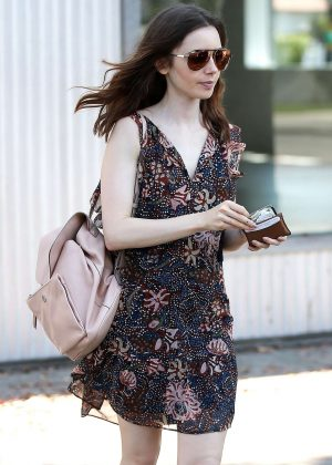 Lily Collins in Mini Dress out in West Hollywood