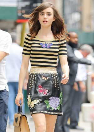 Lily Collins in Mini Skirt out in NYC