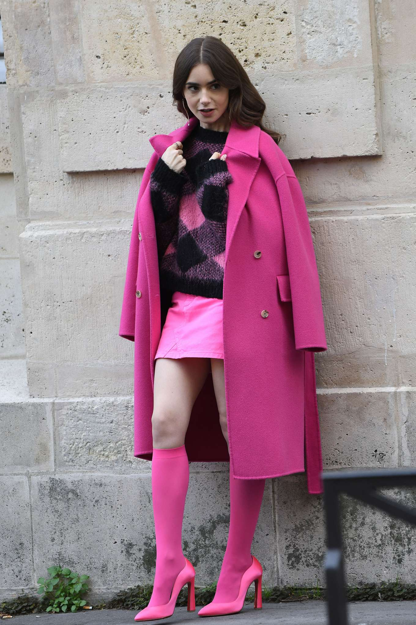 Lily Collins in Pink - On the set of 'Emily in Paris' in Paris