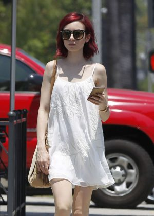 Lily Collins in Short White Dress Out in Beverly Hills