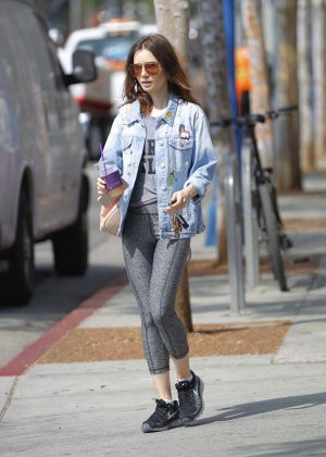Lily Collins in Spandex Leaves her workout in Beverly Hills