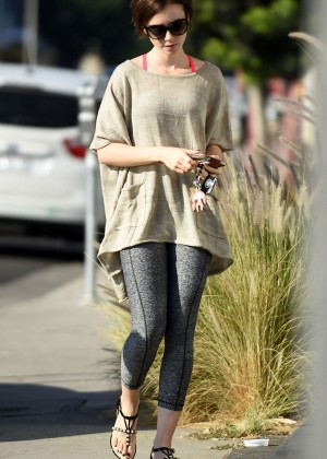 Lily Collins in Spandex Out in LA