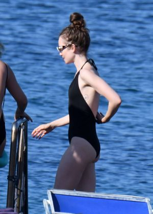 Lily Collins in Swimsuit in Ischia
