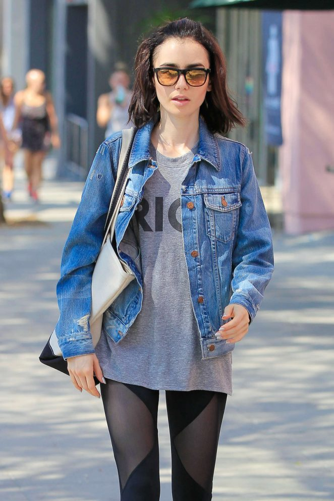 Lily Collins in Tights Leaving Workout Class in West Hollywood