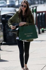 Lily Collins in Tights - Shopping in Hollywood