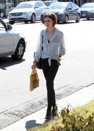 Lily Collins in Tights Shopping in Los Angeles