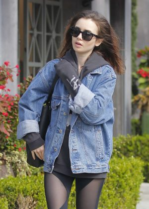 Lily Collins in Tights Visited a salon in Beverly Hills
