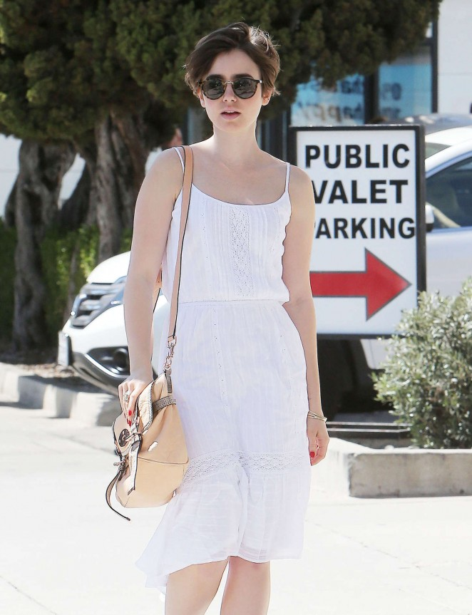 Lily Collins in White Dress Out in Beverly Hills